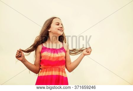 Perfect Day. Small Girl With Long Curly Hair. Childhood Happiness. Summer Kid Fashion. Small Girl Sp