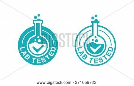 Lab Tested Certified Stamp - Laboratory Equipment (microscope, Flask, Vial) Inside Circle - Icon For