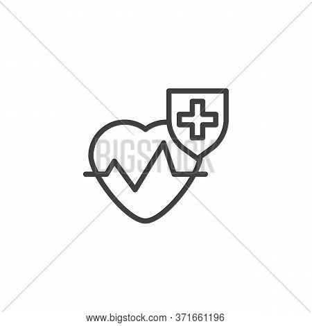 Healthcare Insurance Line Icon. Linear Style Sign For Mobile Concept And Web Design. Cardiology Hear