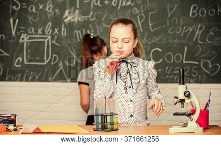 Educational Experiment. School Classes. Biology And Chemistry Lessons. Observe Chemical Reactions. C