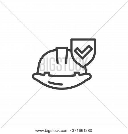 Work Insurance Line Icon. Linear Style Sign For Mobile Concept And Web Design. Hard Hat With Protect