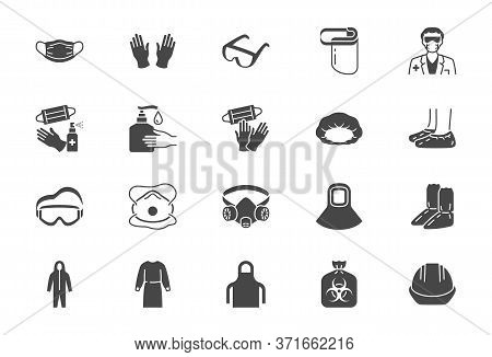 Medical Ppe Flat Icons. Vector Illustration Included Icon As Face Mask, Gloves, Doctor Gown, Hair Co