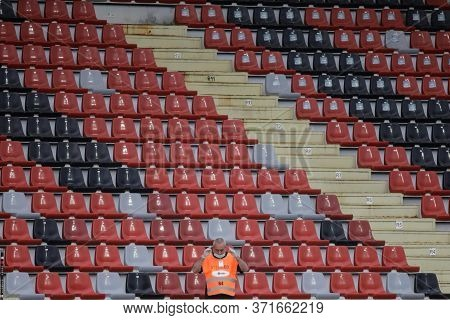 Giurgiu, Romania - June 15, 2020: Empty Seats In A Stadium At A Soccer Game During The Covid-19 Outb