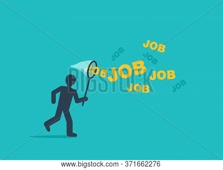 Job Searching Concept - Human Silhouette Catching Job Words Associated With Butterflies - Business H