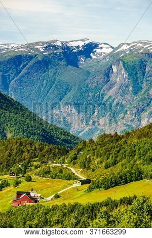 Norwegian Country Houses In Mountains, Farm Village. Scenic Summer Landscape In Norway, Scandinavia