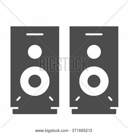Speakers Solid Icon, Media Concept, Audio Speaker Sign On White Background, Stereo Speakers Icon In