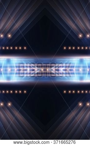 Empty Stage, Blue Neon, Abstract Blue Background. Rays Of Searchlights, Light, Abstract Tunnel, Corr