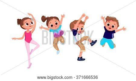 Group Of Children Dancing. Creative Kids. Dancing Studio.