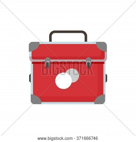 First Aid Kit, Emergency Box. Red Medical Bag Of A Paramedic Or Doctor, Ambulance Symbol.