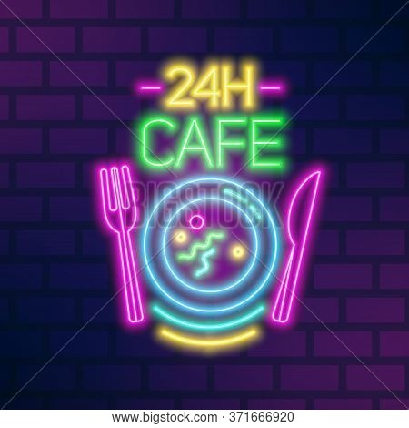 24h Cafe Neon Sign On Brick Wall Vector Flat Illustration. Bright Glowing Signboard Noctidial Cafete