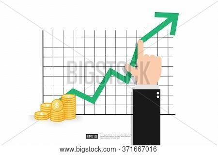 Increase Profit Sales Diagram. Hand With Business Chart Growth In Flat Style Design. Increasing Grap