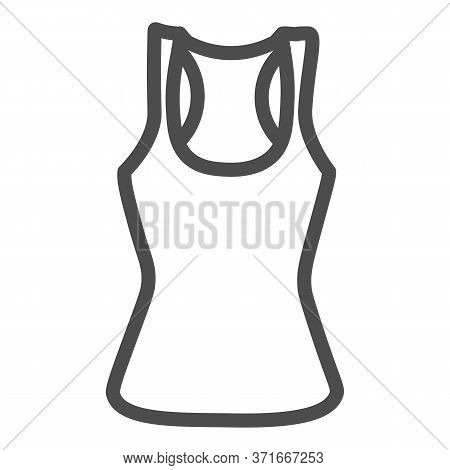 Tank Shirt Line Icon, Summer Clothes Concept, Sporty Summer Top Sign On White Background, Women Tank