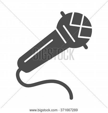 Microphone Solid Icon, Music Festival Concept, Mike Sign On White Background, Retro Microphone Icon