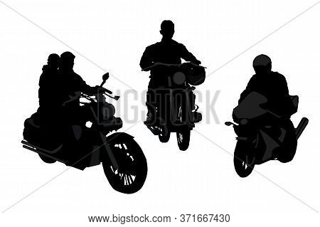 Motorcyclists Silhouette Set Isolated On White Background. Biker Driving A Motorcycle. Freedom Indep