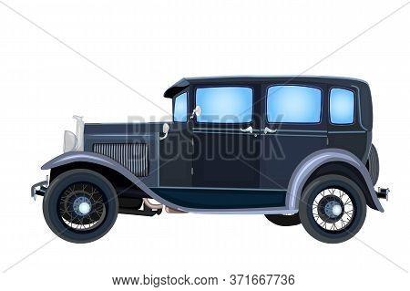 Vintage Car Isolated On White Background. Old Retro Classic Black Car Sedan. Transport Or Vehicle Ic
