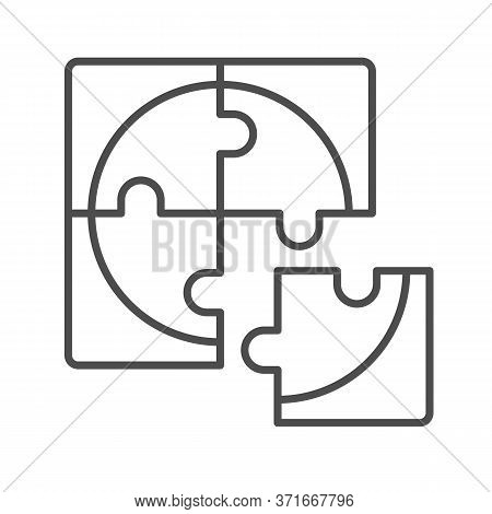 Four Puzzle Pieces Thin Line Icon, Business Solution Concept, Jigsaw Puzzles Sign On White Backgroun