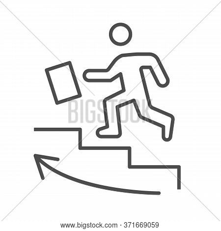 Man Climbs Up The Stairs Thin Line Icon, Business Strategy Concept, Businessman With Suitcase Climbi
