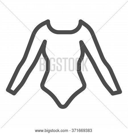 Swimsuit With Sleeves Line Icon, Summer Clothes Concept, Long Sleeve Body Sign On White Background,
