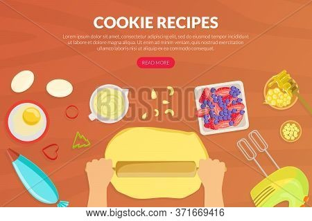 Cookie Recipes Landing Page Template, Tasty Food Recipes, Cooking Course, Online Food Ordering Websi