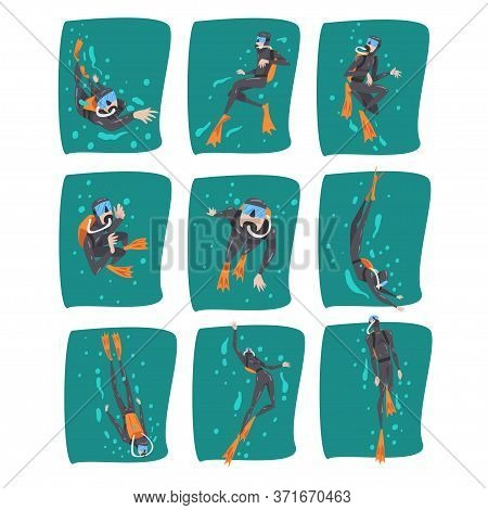 Professional Underwater Scuba Divers Set, Diver In Wetsuit, Snorkel, Mask And Flippers Swimming In T