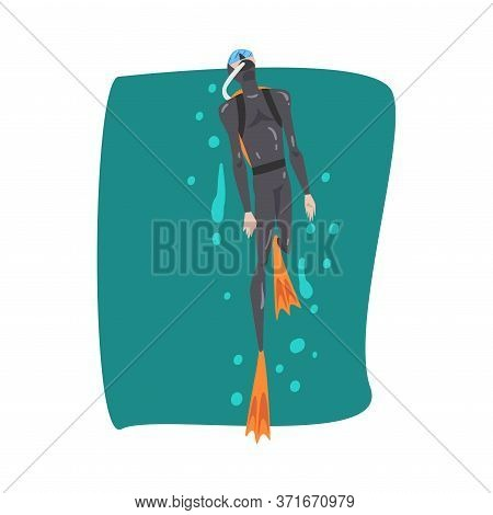 Male Diver In Black Wetsuit, Snorkel, Mask And Flippers Snorkeling In The Sea, Extreme Water Sport C