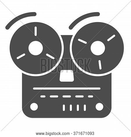 Tape Recorder Solid Icon, Music Concept, Old Reel Tape Recorder Sign On White Background, Open Reel