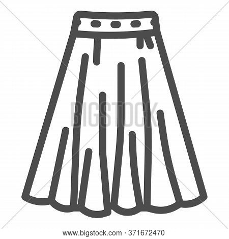 Skirt Line Icon, Clothes Concept, Long Elegant Women Skirt Icon On White Background In Outline Style