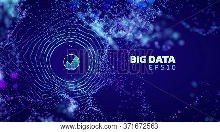 Modern Illustration With Big Data. Wireframe Illustration. Big Data. Bigdata Blasted Particles