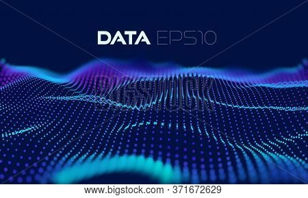 3d Wave Particle Grid. Abstract 3d Grid Design. Dark Abstract Background. Vector Concept Art. Liquid