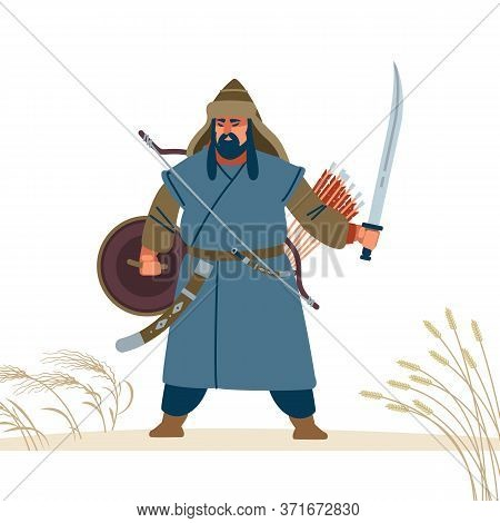 Mongol Warrior Character. Medieval Battle Illustration. Historical Illustration. Isolated Vector Fla