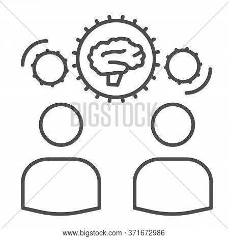 Two Men Share Knowledge Thin Line Icon, Business Concept, Knowledge Or Ideas Sharing Between Two Peo