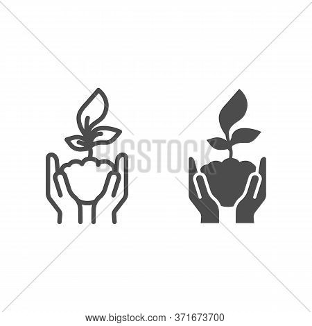 Human Palms Hold A Young Sprout Line And Solid Icon, Save Nature Concept, Sprout Symbol On White Bac