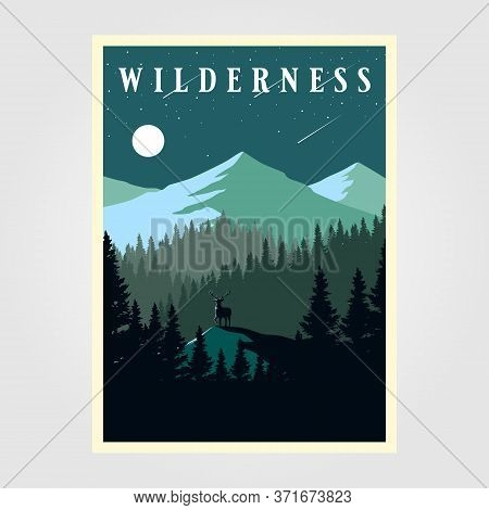 Adventure Mountain Camp Poster Wilderness Vector Illustration Design