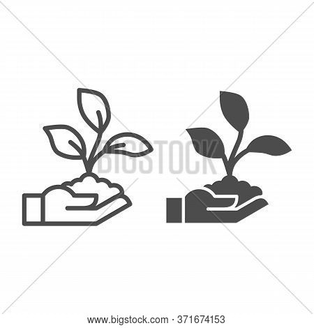 Sprout In Hand Line And Solid Icon, Ecology Concept, Hand Holding Seedling With Three Leaves Sign On