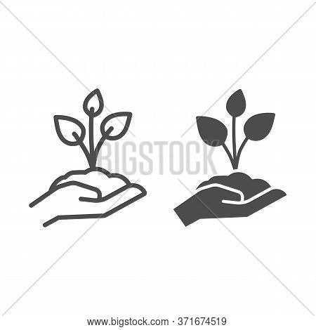 Young Sprout With Three Leaves In Hand Line And Solid Icon, Save Nature Concept, Seedling With Handf