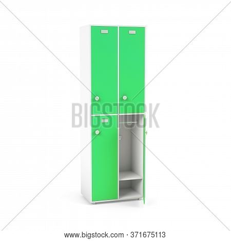 Green Lockers. Tall Lockers For Schoool Or Gym. 3d Rendering Illustration Isolated On White Backgrou