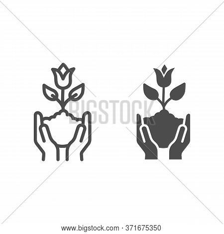Human Hands Hold Tulip In Soil Line And Solid Icon, Spring Concept, Tulip Bud With Leaves Sign On Wh