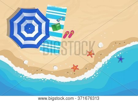 Beach From Above, View With Umbrella, Beach Towel, Sunglasses And Flip Flop. Vector Hand Drawn Illus