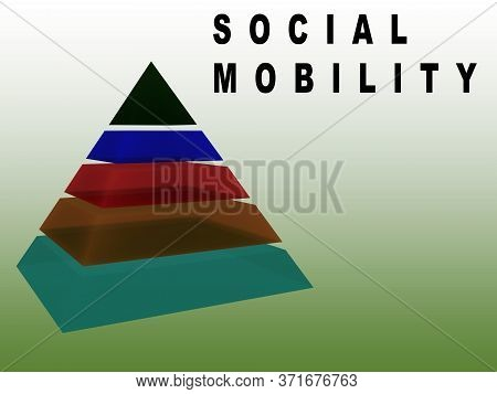 3d Illustration Of Social Mobility Text With A Sliced Pyramid, Isolated On Green Gradient As Backgro