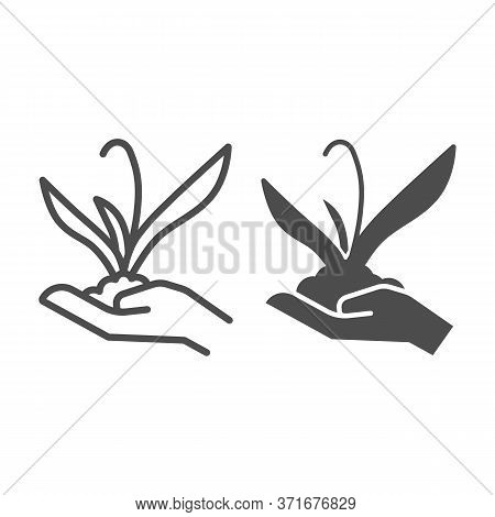 Plant Sprout In Hand Line And Solid Icon, Gardening Concept, Flower Plant In Hand Sign On White Back