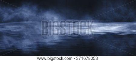 Dark Empty Scene, Blue Neon Searchlight Light, Wet Asphalt, Smoke, Night View, Rays. Reflection On T