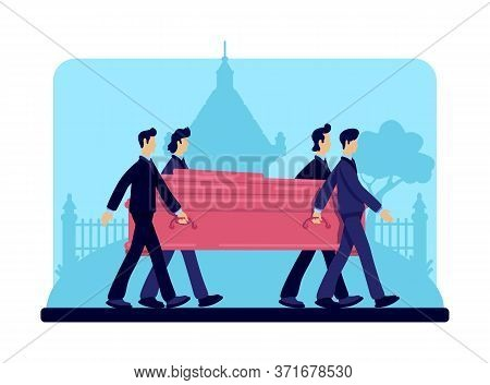 Coffin Bearers Flat Color Vector Illustration. Funeral Procession. Burial Ceremony. Ritual Service.