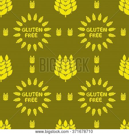 Gluten Free, Background Pattern. Vector Seamless Pattern With Silhouettes Of Wheat Ears And With Let