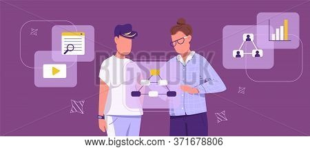 Generation Z In Business Flat Concept Vector Illustration. Young Entrepreneurs Working Together 2d C