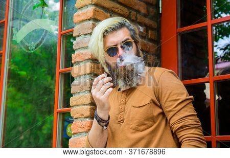 Smoking Hipster. Sensual Bearded Man With Cigarette. Cigarette Smoke. Bearded Man Smoke The Cigarett