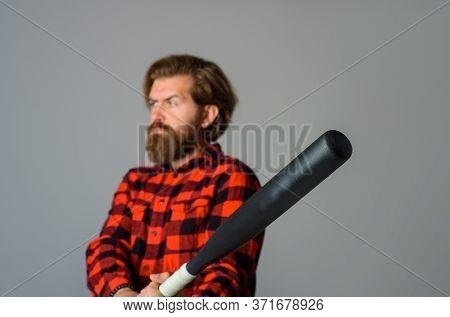 Man With Baseball Bat. Baseball. Sport Bat. Sport Equipment. Baseball Player