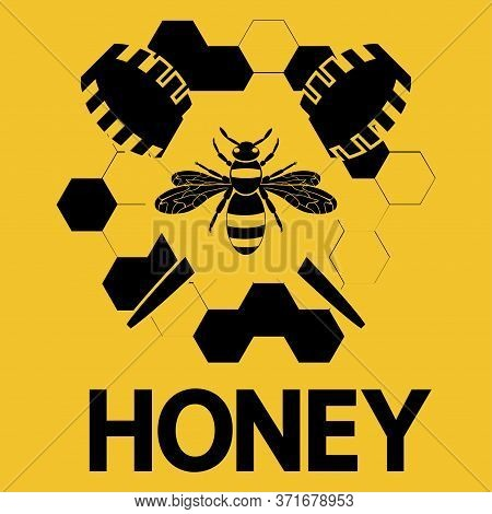 Honey Bee. Honey Logo With A Bee Or Wasp And Honeycomb In Black Color Isolated On Orange Background.