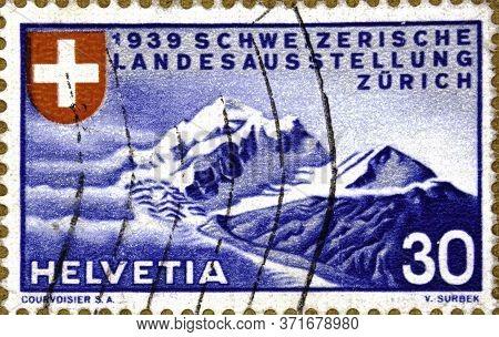 02.09.2020 Divnoe Stavropol Territory Russia The Postage Stamp Switzerland 1939 National Philatelic