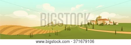 Autumn Countryside View Flat Color Vector Illustration. Yellow Agricultural Field 2d Cartoon Landsca