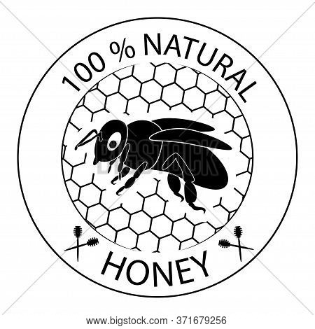 Honey Bee. 100 Natural Product Icon. 100 Natural Honey Sign. Badge For Different Package With Honey